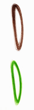 Fully articulated: loop in brown and Fully articulated: loop in green
