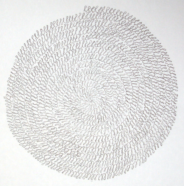 A spiral of wobbly loops, 2005