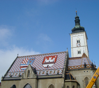 Zagreb: tiled roof on St Mark's